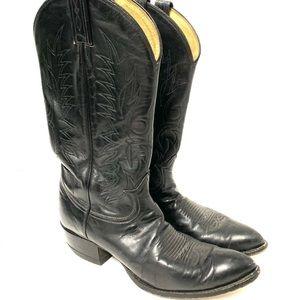 Tony Lama Black Leather Western Cowboy Boots